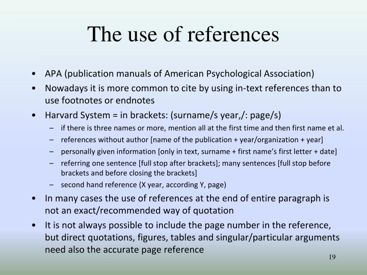 The use of references
