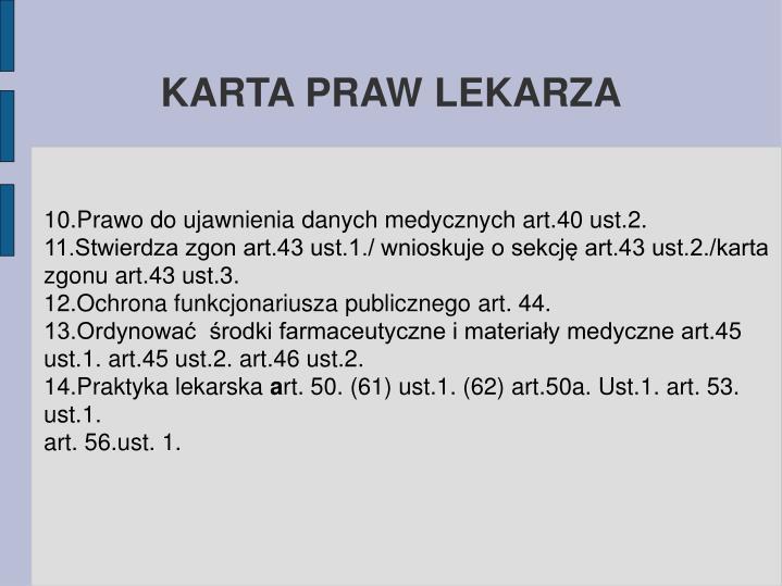 KARTA PRAW LEKARZA