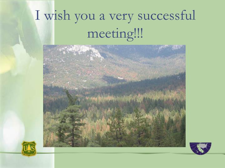 I wish you a very successful meeting!!!