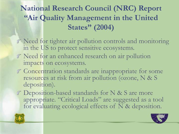 "National Research Council (NRC) Report ""Air Quality Management in the United States"" (2004)"