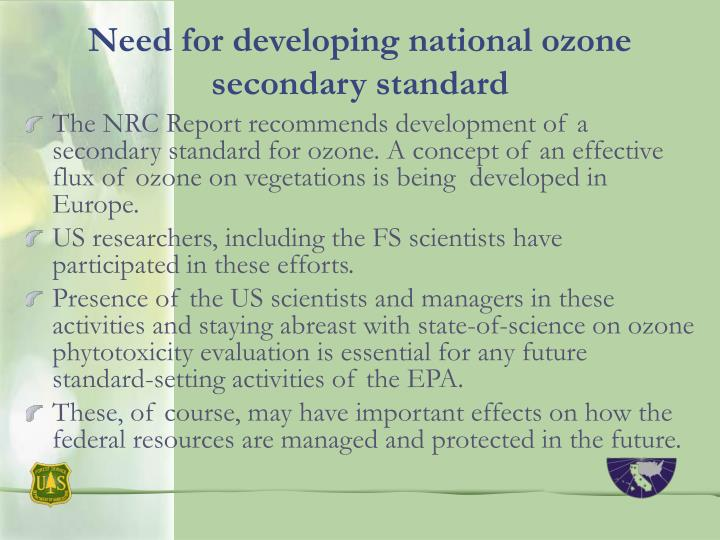 Need for developing national ozone secondary standard