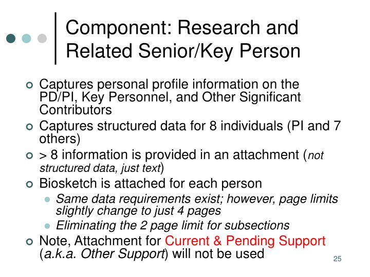 Component: Research and Related Senior/Key Person