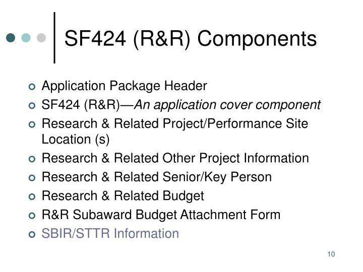 SF424 (R&R) Components