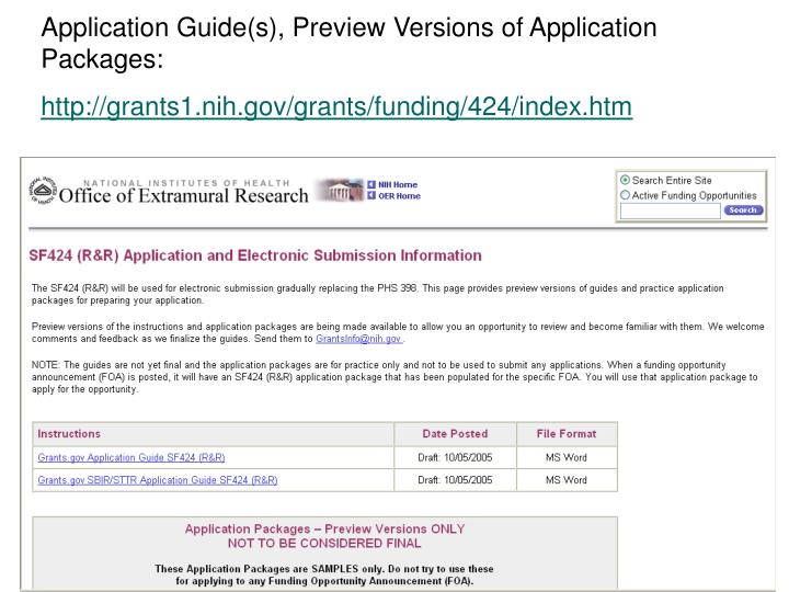 Application Guide(s), Preview Versions of Application Packages: