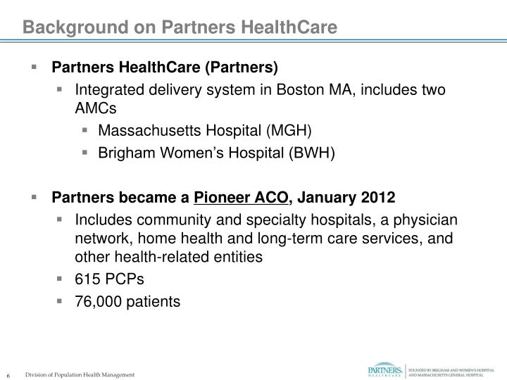 Background on Partners HealthCare