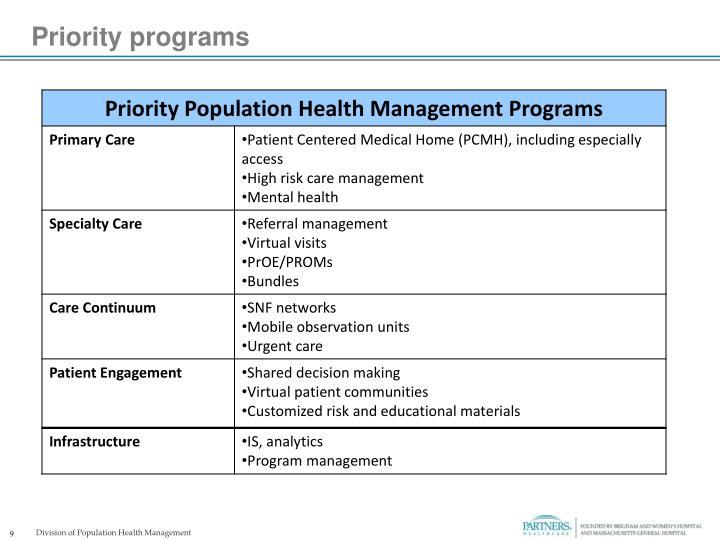 Priority programs