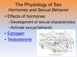 the physiology of sex hormones and sexual behavior