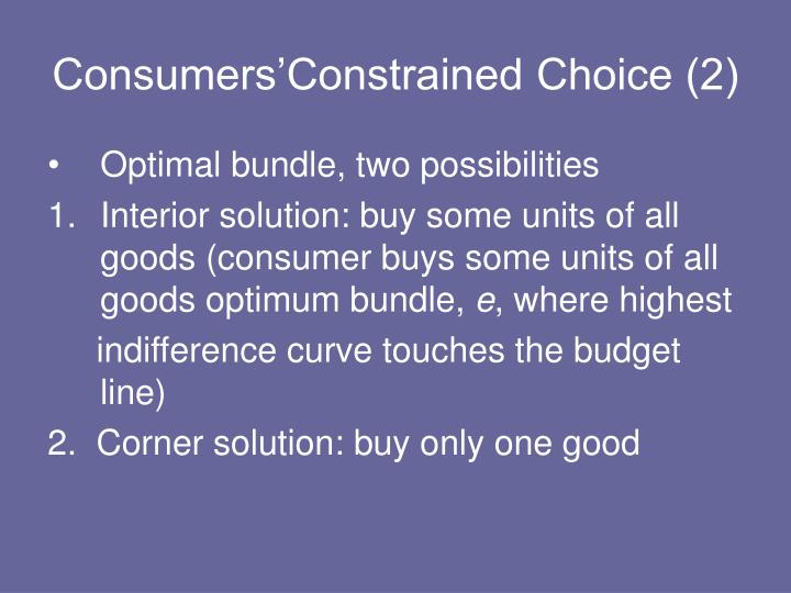 Consumers'Constrained Choice (2)