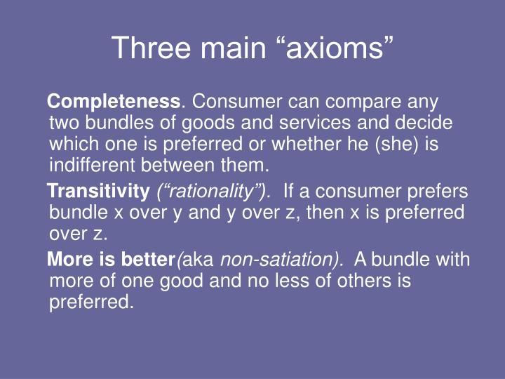 """Three main """"axioms"""""""