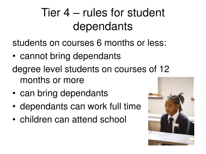 Tier 4 – rules for student dependants