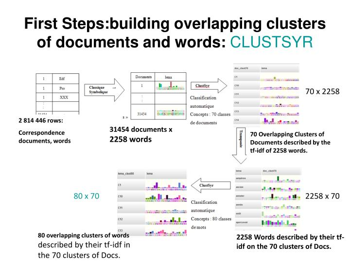 First Steps:building overlapping clusters  of documents and words:
