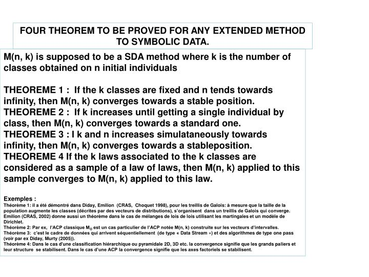 FOUR THEOREM TO BE PROVED FOR ANY EXTENDED METHOD TO SYMBOLIC DATA.