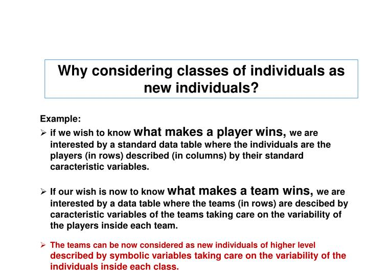 Why considering classes of individuals as new individuals?