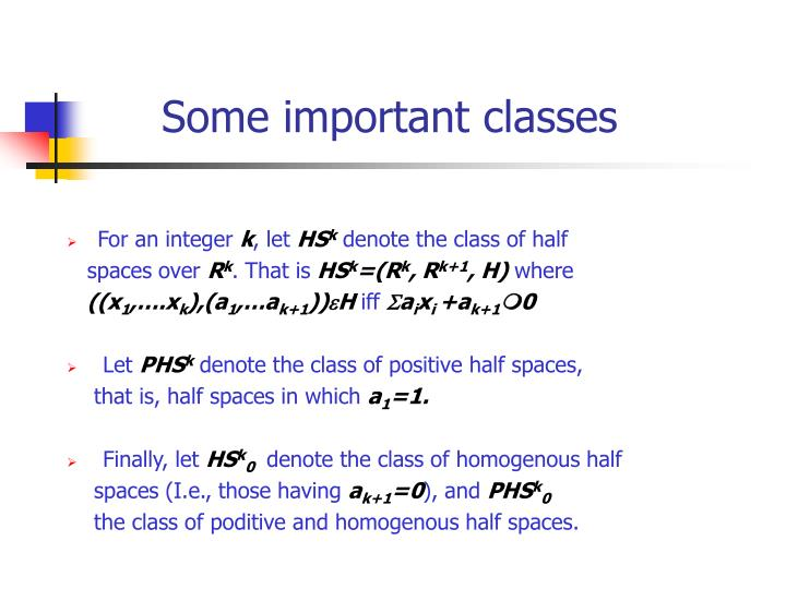 Some important classes