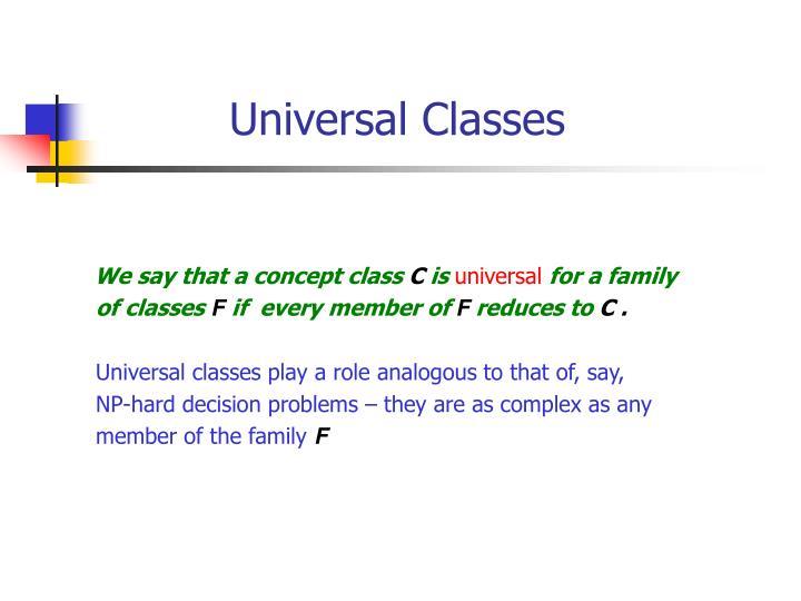 Universal Classes