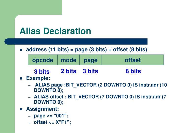 Alias Declaration
