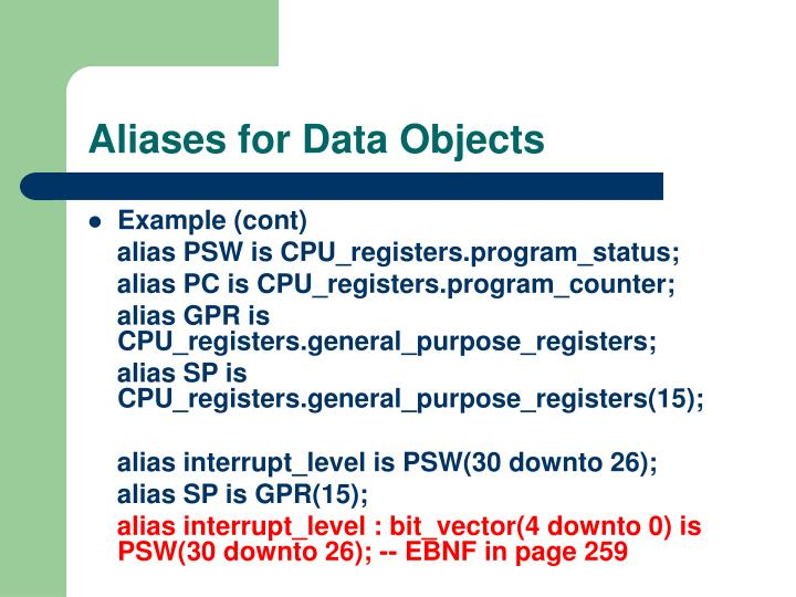 Aliases for Data Objects