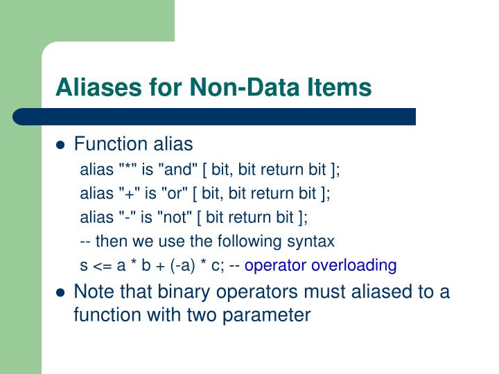 Aliases for Non-Data Items