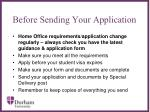before sending your application