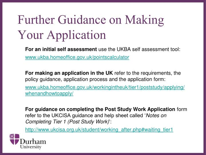 Further Guidance on Making Your Application