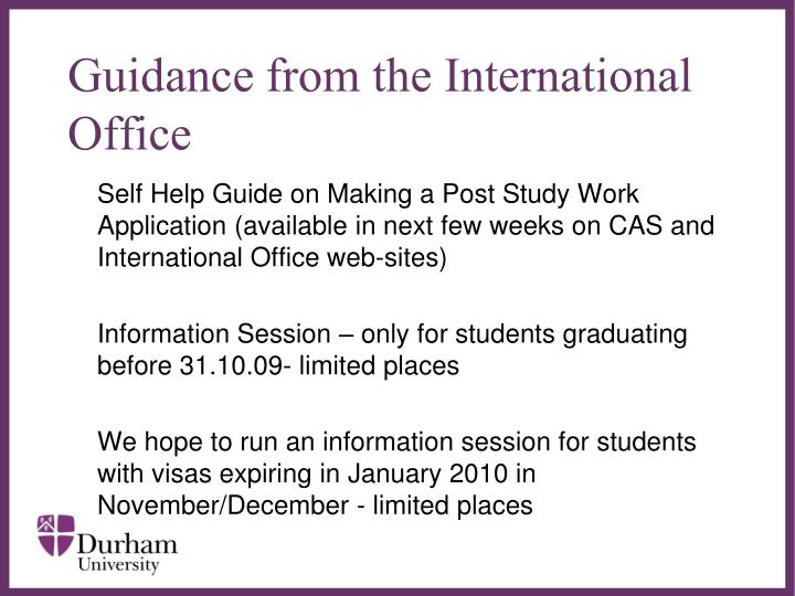 Guidance from the International Office
