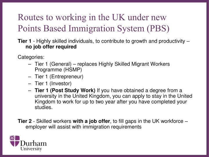 Routes to working in the uk under new points based immigration system pbs
