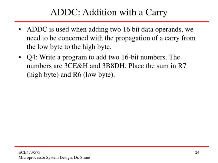 ADDC: Addition with a Carry