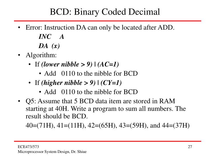BCD: Binary Coded Decimal