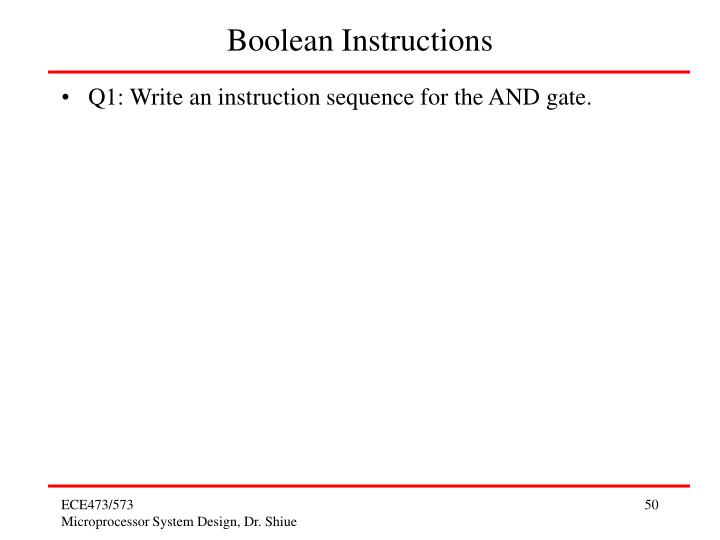 Boolean Instructions