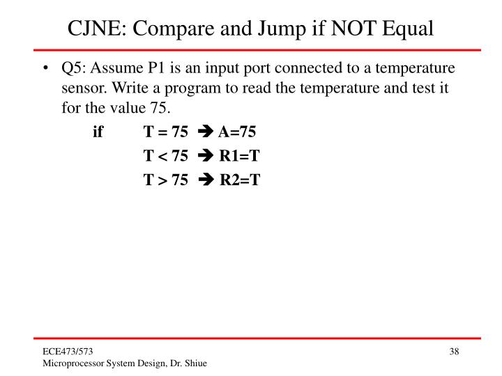 CJNE: Compare and Jump if NOT Equal