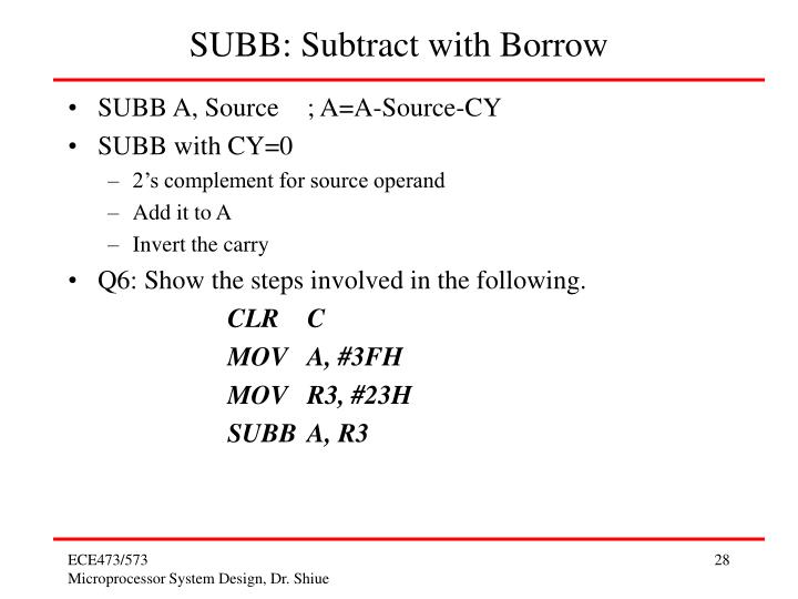 SUBB: Subtract with Borrow