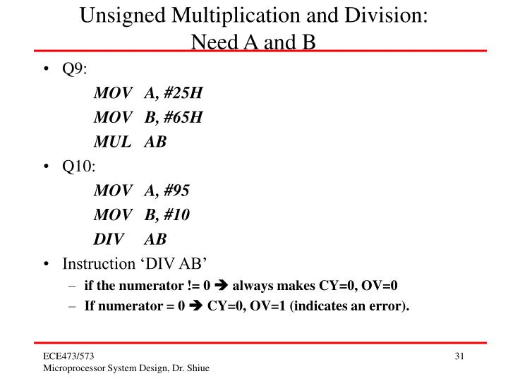 Unsigned Multiplication and Division:
