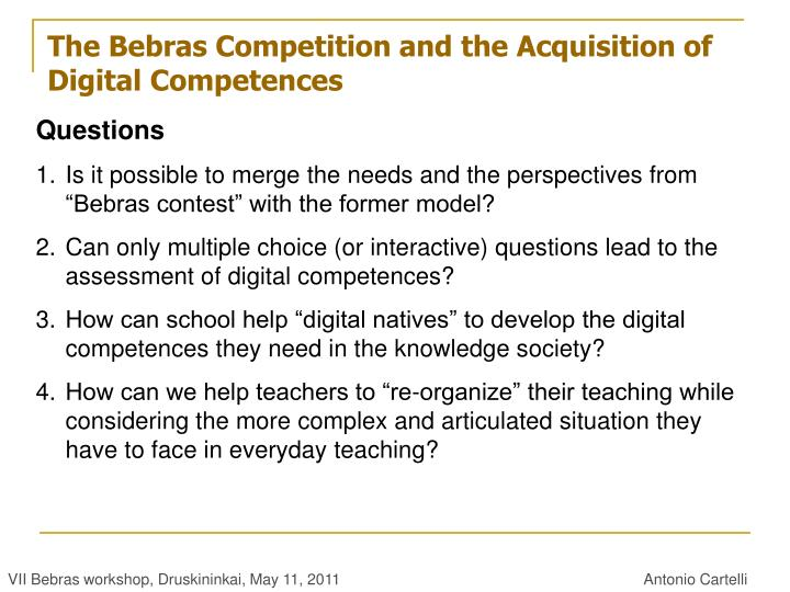 The Bebras Competition and the Acquisition of Digital Competences
