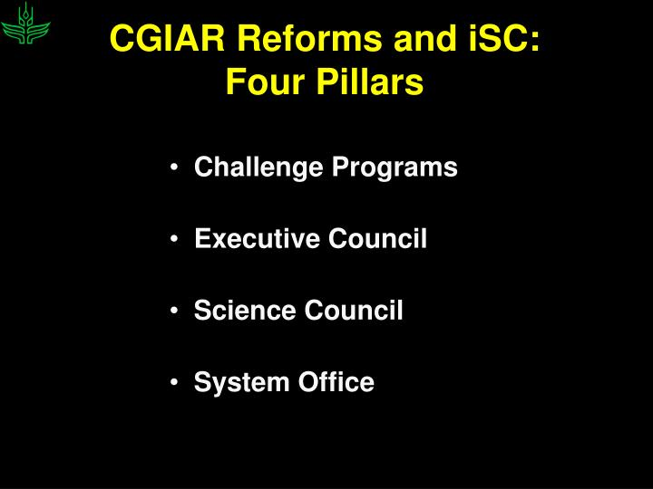 CGIAR Reforms and iSC: