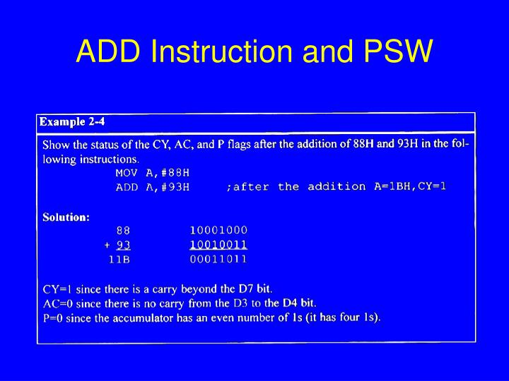 ADD Instruction and PSW