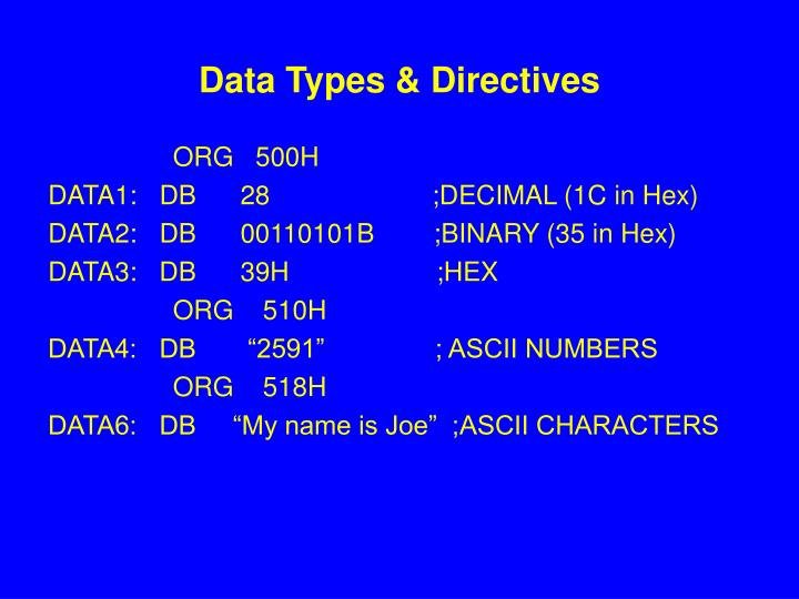 Data Types & Directives
