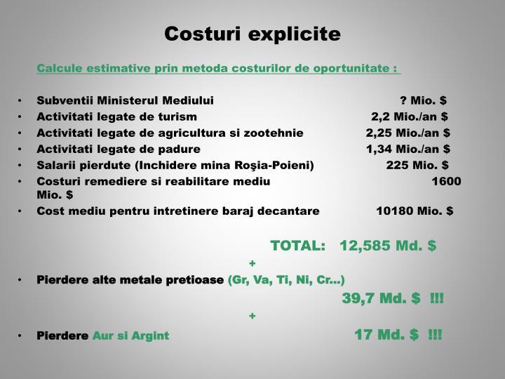 Costuri explicite
