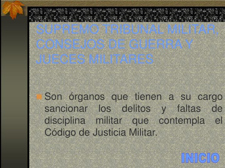 SUPREMO TRIBUNAL MILITAR, CONSEJOS DE GUERRA Y JUECES MILITARES