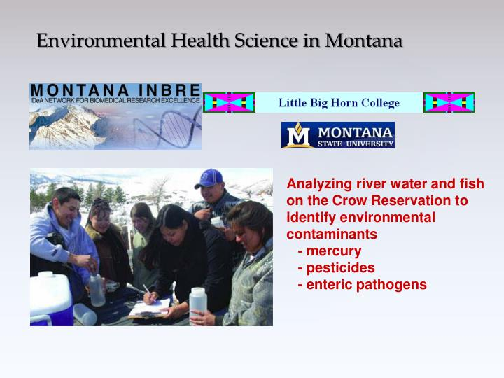 Analyzing river water and fish on the Crow Reservation to identify environmental contaminants
