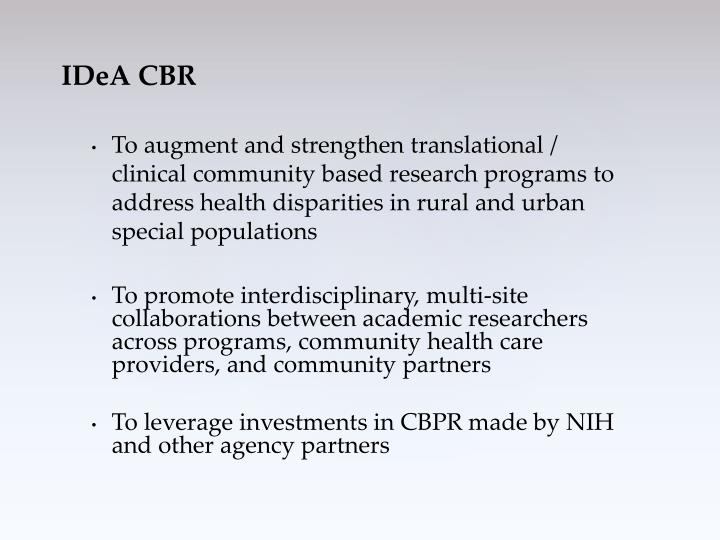 To augment and strengthen translational / clinical community based research programs to address health disparities in rural and urban special populations