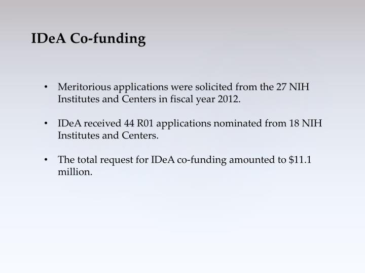 Meritorious applications were solicited from the 27 NIH Institutes and Centers in fiscal year 2012.
