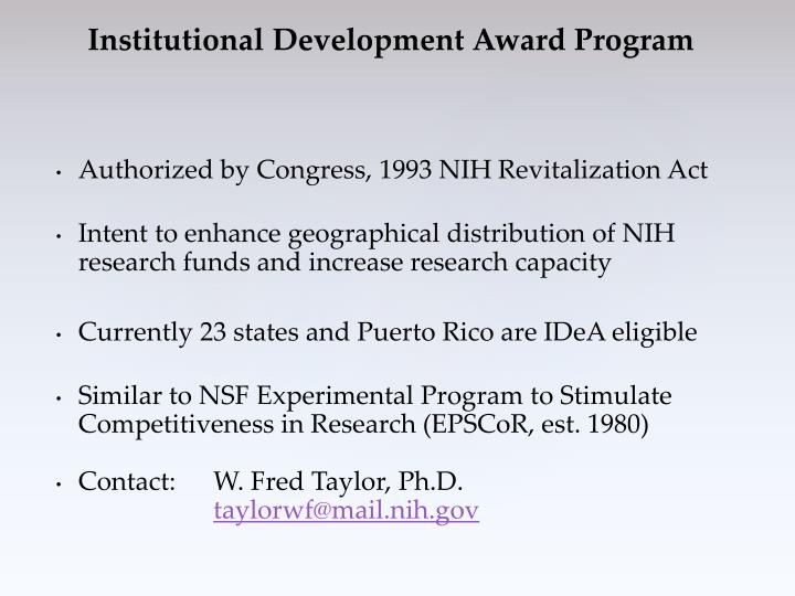 Authorized by Congress, 1993 NIH