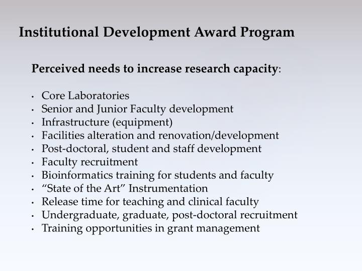 Perceived needs to increase research capacity
