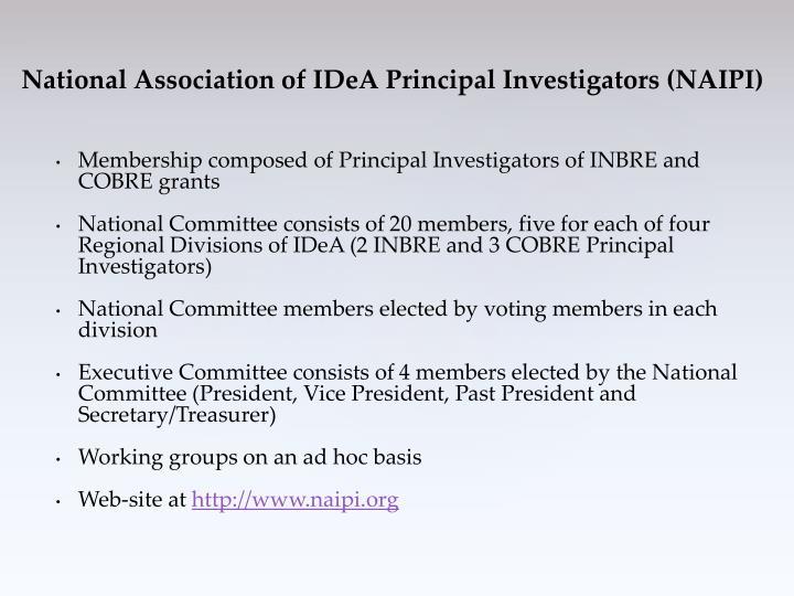 Membership composed of Principal Investigators of INBRE and COBRE grants
