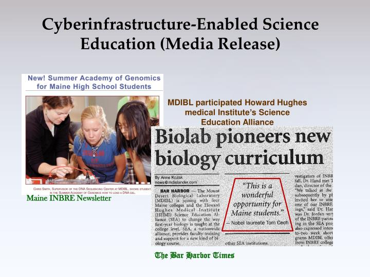 Cyberinfrastructure-Enabled Science Education (Media Release)