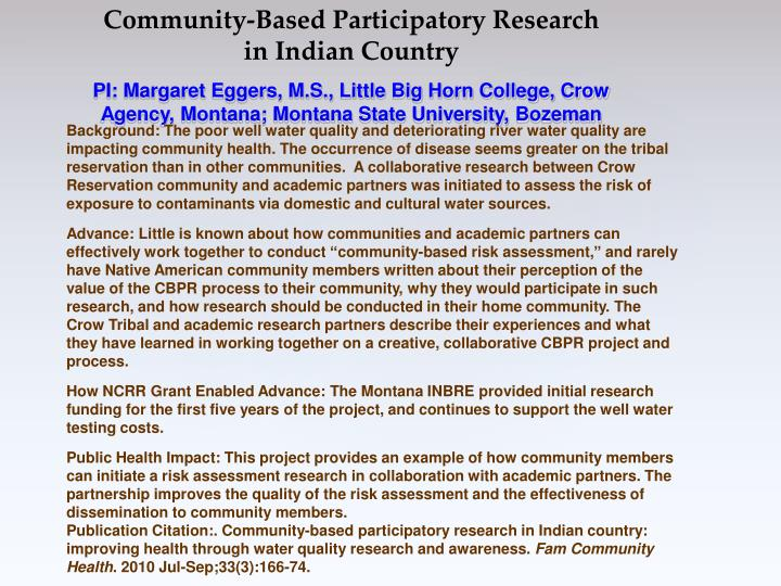 Community-Based Participatory Research in Indian Country