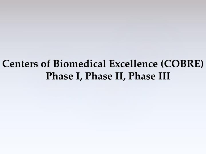 Centers of Biomedical Excellence (COBRE)