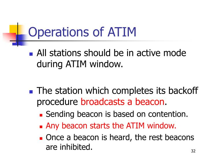Operations of ATIM