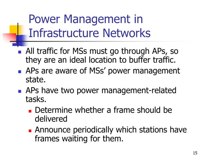 Power Management in Infrastructure Networks