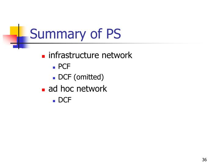Summary of PS